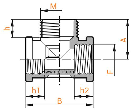 Размеры Тройника Arag (внутр внутр наруж резьба)