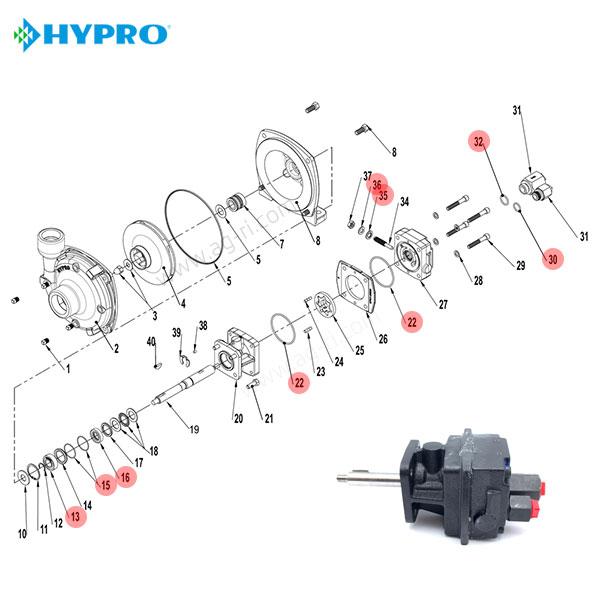 Запчастини гідромотора hypro